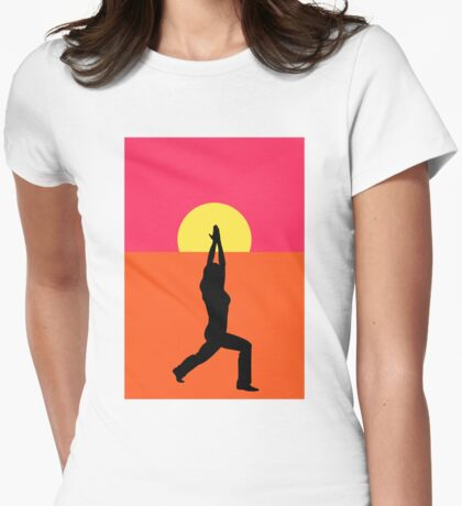 Pop Art Yoga Warrior Womens Fitted T-Shirt
