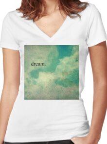 Dream Vintage Sky Pattern Women's Fitted V-Neck T-Shirt
