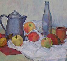 Still Life with Coffee Pot, Fruit & Bottle by Deborah Pritchett