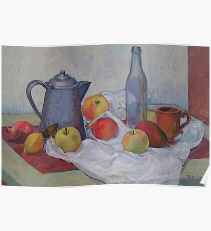 Still Life with Coffee Pot, Fruit & Bottle Poster