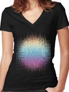 Psychedelic Glitch  Women's Fitted V-Neck T-Shirt