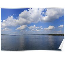 Sky, clouds and river Poster
