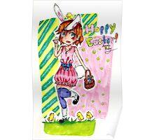 Kawaii Easter Bunny Poster