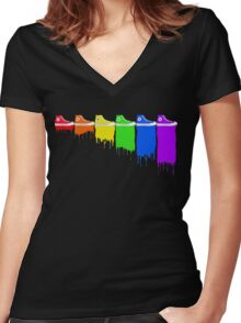 Color Kicks Women's Fitted V-Neck T-Shirt