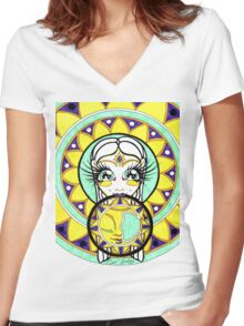Moon Mandala Goddess Women's Fitted V-Neck T-Shirt