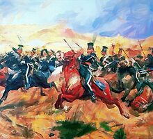 A digital painting of The Charge of the Light Brigade 1854 by Dennis Melling