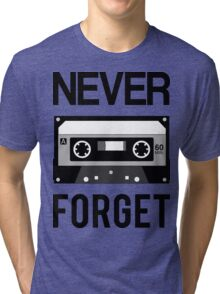 NEVER FORGET Cassette - Silicon Valley Parody with Tape Drawing Tri-blend T-Shirt
