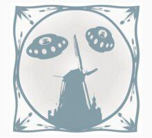Delft blue effect aliens invade Holland One Piece - Short Sleeve