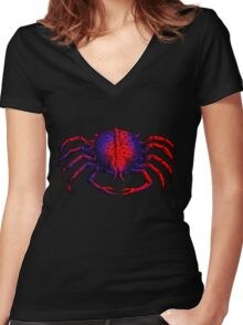 Color Crab Women's Fitted V-Neck T-Shirt