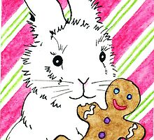 2013 Holiday ATC 5 - Bunny with Gingerbread Man by ArtbyMinda