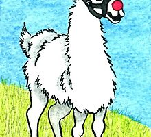 2013 Holiday ATC 6 - Llama Rudolph by ArtbyMinda