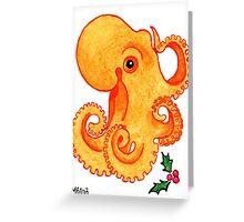 2013 Holiday ATC 9 - Orange Octopus and Holly Greeting Card