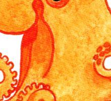 2013 Holiday ATC 9 - Orange Octopus and Holly Sticker