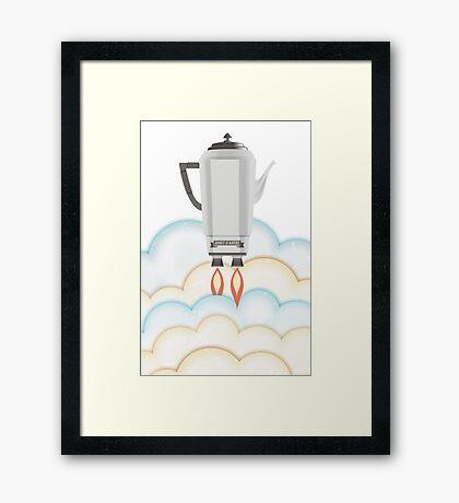 Retro sci fi coffee pot percolator rocket ship Framed Print