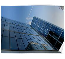 Bright Blue Glass Reflections Poster