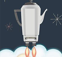 Retro sci fi coffee pot percolator rocket ship by BigMRanch