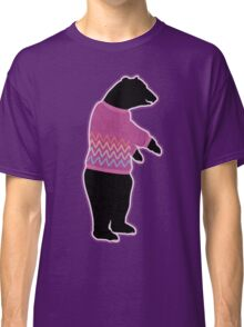 Funny bear wearing a knitted purple sweater Classic T-Shirt