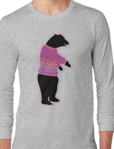 Funny bear wearing a knitted purple sweater Long Sleeve T-Shirt
