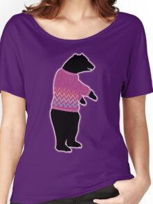 Funny bear wearing a knitted purple sweater Women's Relaxed Fit T-Shirt