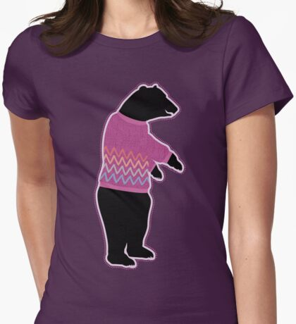 Funny bear wearing a knitted purple sweater Womens Fitted T-Shirt