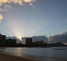 Early Birds, Famous Beach and Sun Rays - Waikiki, Honolulu, Hawaii by Georgia Mizuleva