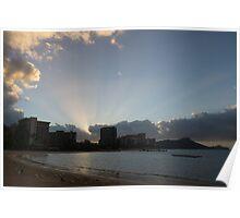 Early Birds, Famous Beach and Sun Rays - Waikiki, Honolulu, Hawaii Poster