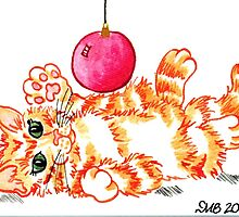2013 Holiday ATC 20 - Kitten Playing with Ornament by ArtbyMinda
