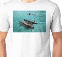 Giant Pigs Swimming In The Azure Waters Of The Exumas, Bahamas, Caribbean Unisex T-Shirt
