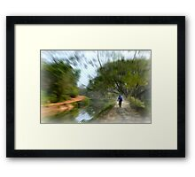 Epic Shot Cycling The Canal Route In Kerala, India Framed Print