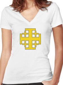 Jerusalem Cross  Women's Fitted V-Neck T-Shirt