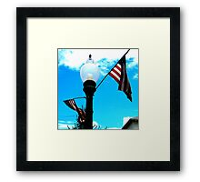 Red, White, and Bright Blue Sky Framed Print