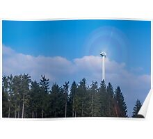 Wind turbine near Kniebis, Black Forest, Germany Poster