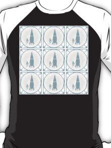 Delft blue tile effect Rocket scientist.  T-Shirt