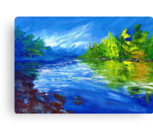 Blue River Painting Oil Art by Ekaterina Chernova Canvas Print