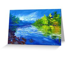 Blue River Painting Oil Art by Ekaterina Chernova Greeting Card