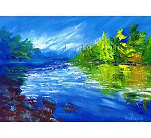 Blue River Painting Oil Art by Ekaterina Chernova Photographic Print