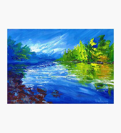Blue River Painting Oil Art by Ekaterina Chernova Photographic Print