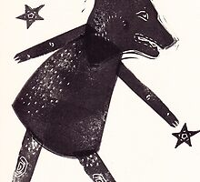 Dog Star Catcher folk art style animal by craftyhag