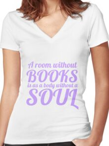 A Room Without Books Women's Fitted V-Neck T-Shirt