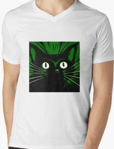 Green Comic Feline Cat Mens V-Neck T-Shirt