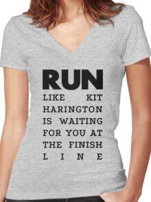 RUN - Kit Harington Women's Fitted V-Neck T-Shirt