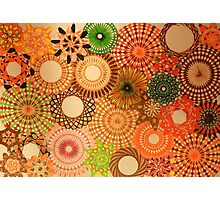 Autumn Coloured Spirograph Design Photographic Print