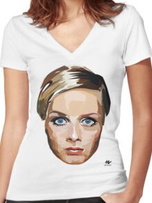 Twiggy - Icon Collection Women's Fitted V-Neck T-Shirt