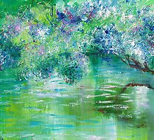 Green River Oil Painting Hand Painted Art Wall Decor by Artist Ekaterina Chernova by Ekaterina Chernova
