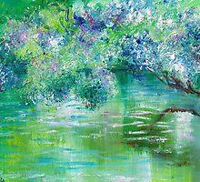 Green River Oil Painting Hand Painted Art Wall Decor by Artist Ekaterina Chernova by Ekaterina Chernova