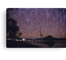 Star Trails Over Lake Moogerah Canvas Print