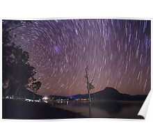 Star Trails Over Lake Moogerah Poster