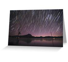 Star Trails Over Lake Moogerah 2 Greeting Card