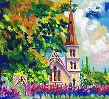 White Church Painting Wall Art by Ekaterina Chernova by Ekaterina Chernova