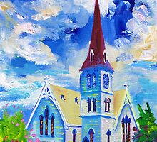 White Church Blue Sky Oil Painting Wall Art by Ekaterina Chernova by Ekaterina Chernova